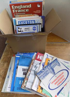 Box of football programmes 1950's onwards
