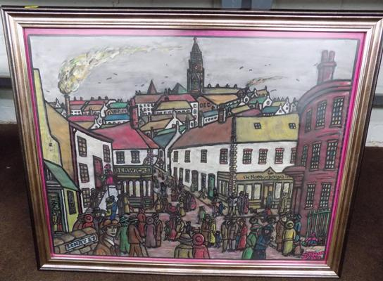 "Framed painting 'Lowry St'  By D Johnson 2012 23.5"" x 28.5"""