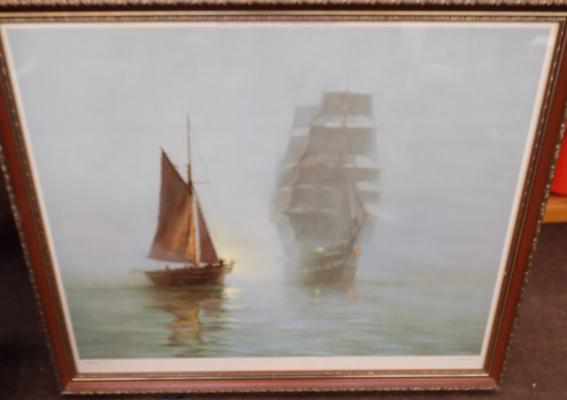Large framed print of two ships (Montague  Dawson 1973)
