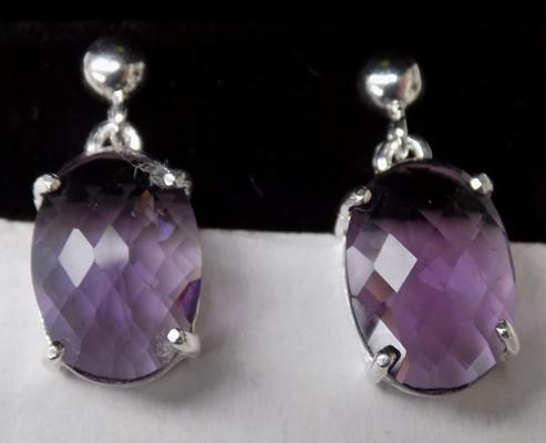 Pair of silver and amethyst earrings