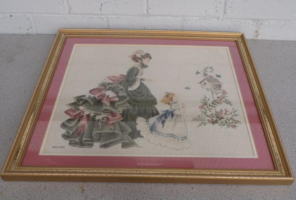 Framed cross stitch of lady & girl