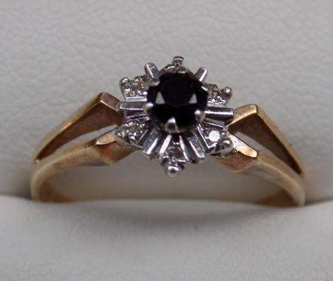 9ct ring with stones-fully hallmarked size app P