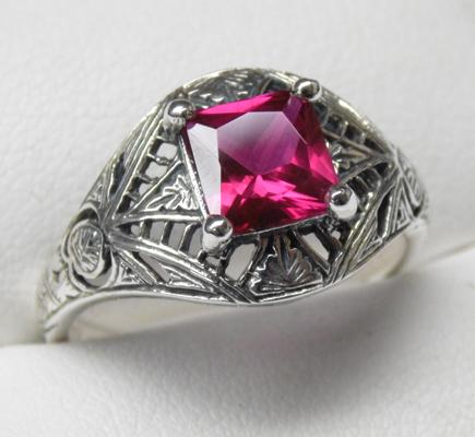 925 silver rubellite vintage style filigree ring, size S