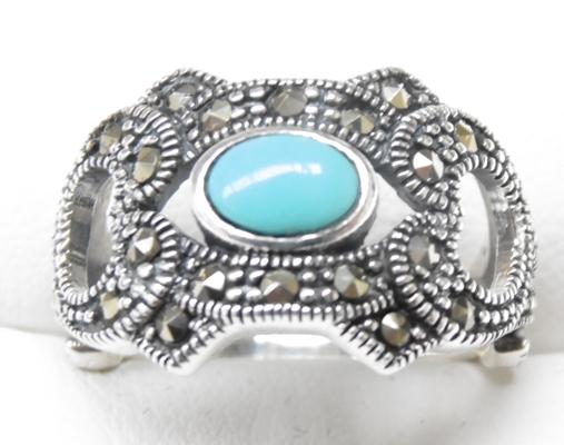 Silver turquoise & marcasite ring
