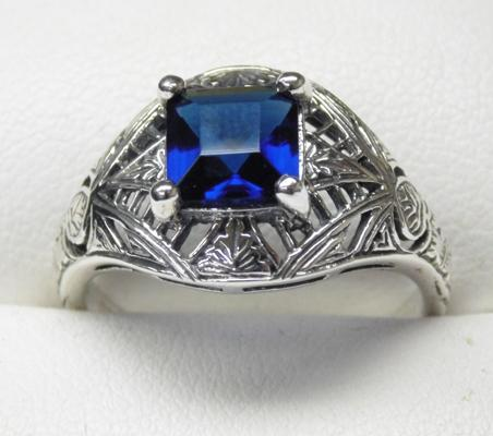 925 silver sapphire vintage style filigree ring, size O