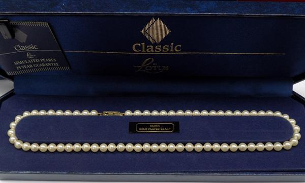Classic Lotus 'faux' pearls with sterling silver clasp in original box