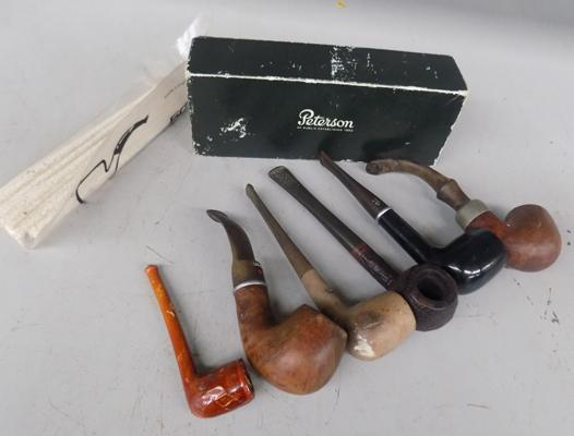 Six vintage smoking pipes