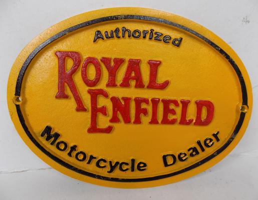 Cast iron Royal Enfield sign
