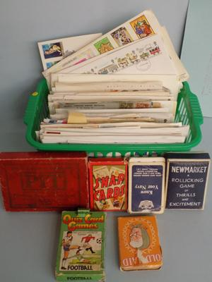 Selection of First Day covers and vintage card games