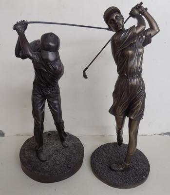"2 large golf figures 14 1/2"" and 13"""