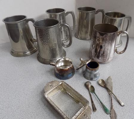 Selection of EPNS tankards & others