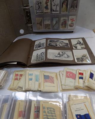 Cigarette cards, photos and silks