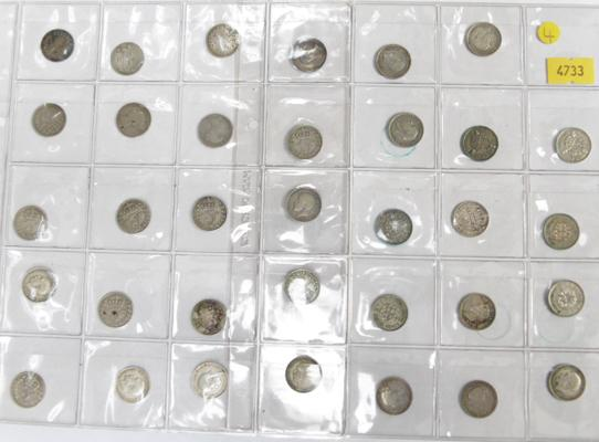 Collection of 3 pence silver coins 1869-1941