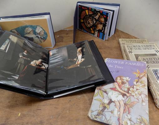 Collection of vintage postcards in albums and 4 1920's poem books with illustrations