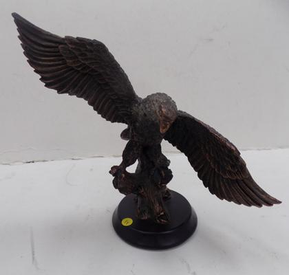 "Bronzed eagle figure on metal base - 6"" tall and 9"" wings"