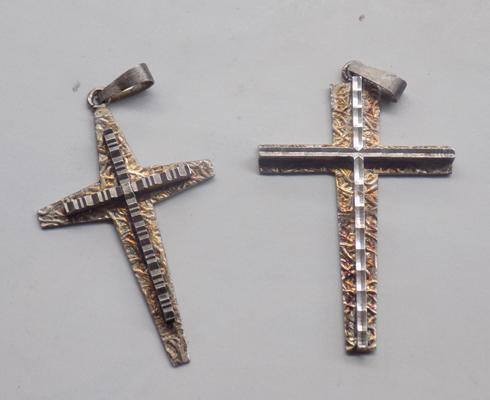 Two 925 silver crosses, hallmarked