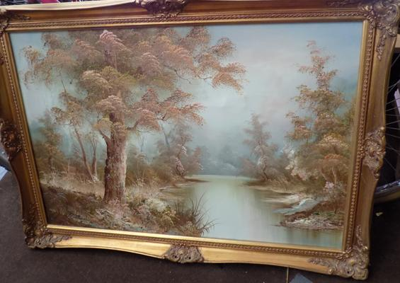"Autumn scene by I Cafieri, approx. 19"" x 40"""