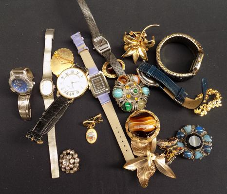 Collection of brooches and watches