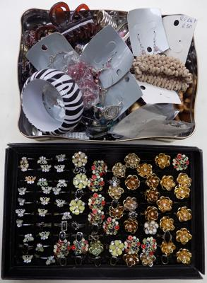 Two trays of costume jewellery (incl. rings)
