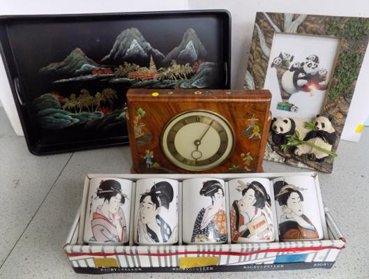 Oriental themed clock, Panda picture frame & Japanese cups & tray