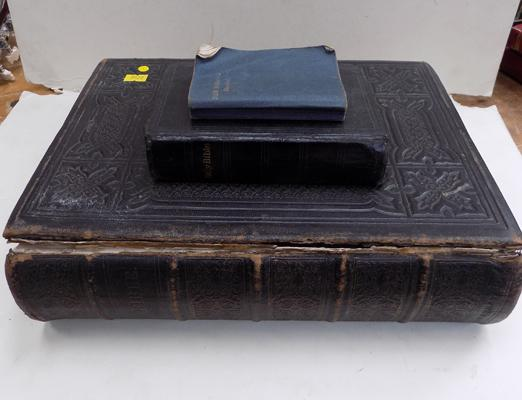 Large vintage bible & 2 small bibles