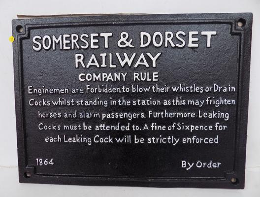 Cast iron Somerset and Dorset railway company rule sign