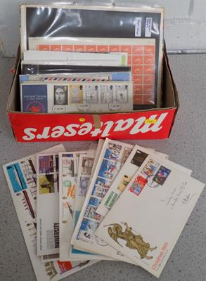 Box of stamps, covers, presentation packs etc