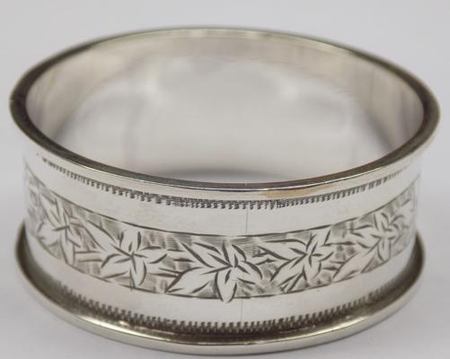 Antique solid silver napkin ring - Birmingham circa 1896