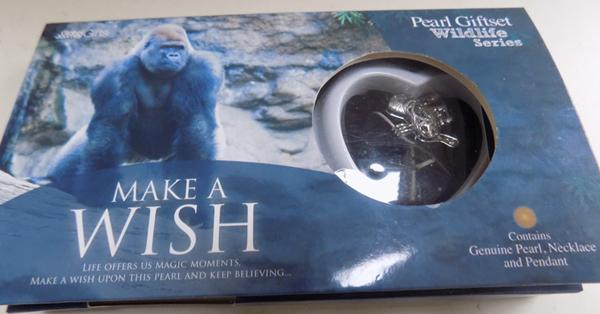 Boxed 'Make a Wish' Gorilla necklace with real pearl