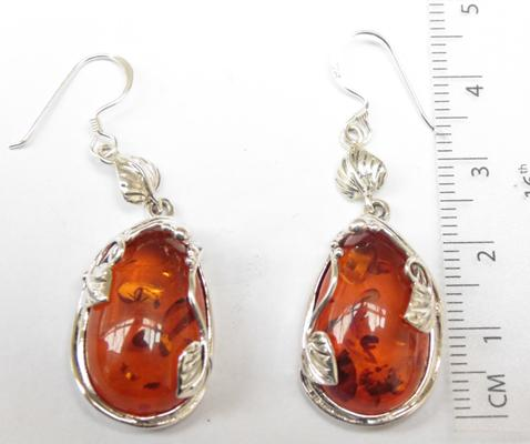 Pair of silver & amber earrings