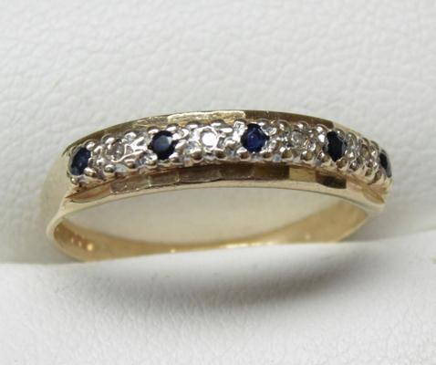 9ct gold sapphire & diamond half eternity ring, size N