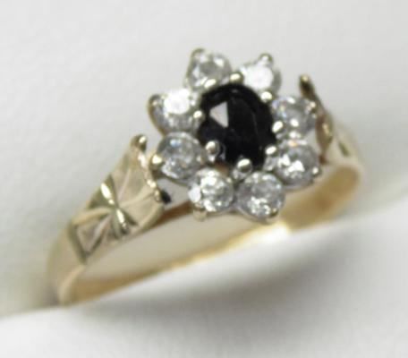 9ct gold sapphire cluster ring, size N 1/2