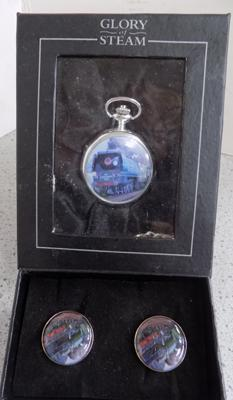 2x Boxed 'Glory of Steam' items pocket watch & cufflinks