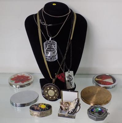 Tray of compacts, pill box's, necklaces, rings etc.