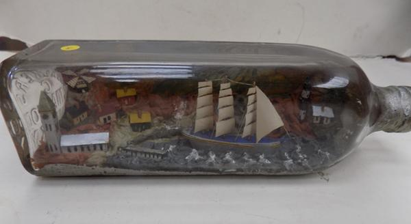 Vintage ship in bottle - Walkers of Hillmarnock bottle 1954