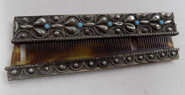 Old white metal & turquoise comb approx 4""