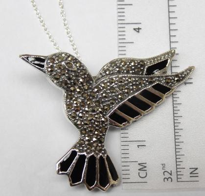 Silver & marcasite bird pendant on silver chain