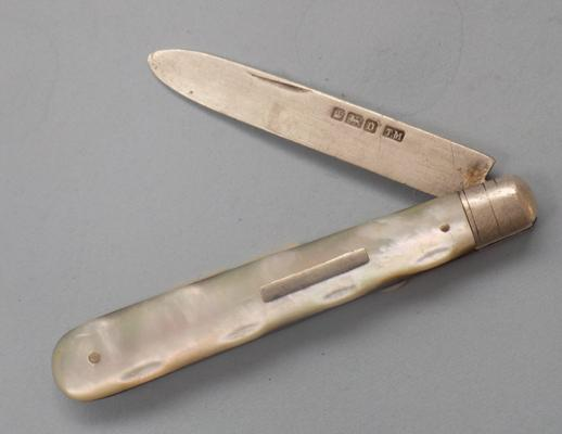 Mother of Pearl silver fruit knife