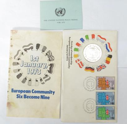 First day of membership of EU 1973 commemorative coin & stamps (UN peace medal 1974)