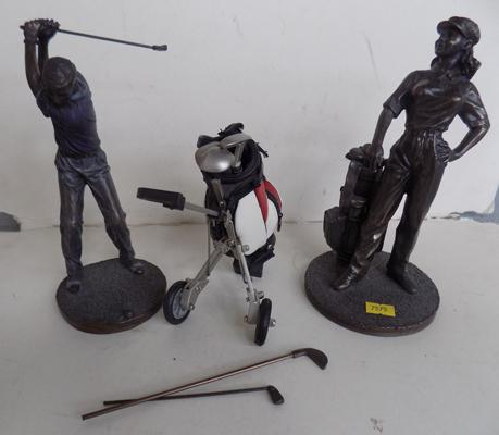"2 small 9"" golf figurines - 1 slight damage, with caddy"