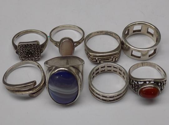 8x Silver rings