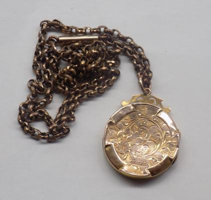 9ct gold sides & edges locket on rolled gold chain