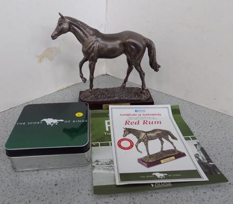 Red Rum horse figurine with paperwork & coasters