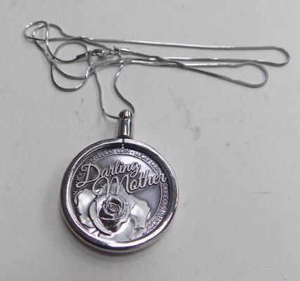 "Darling Mother coin pendant on 28""chain"