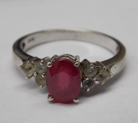 925 Silver Ruby & clear stone ring