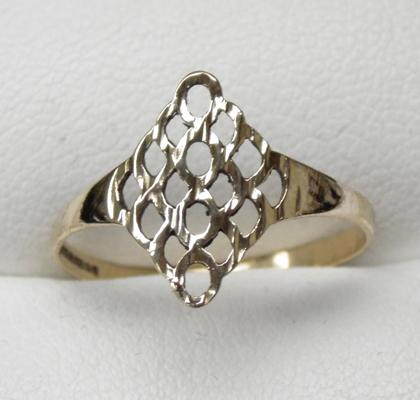 9ct gold diamond cut, diamond shaped ring, size P 1/2
