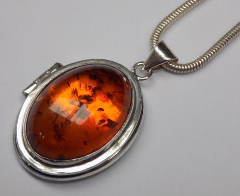 925 silver amber locket necklace