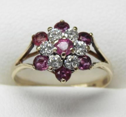 9ct gold ruby cluster ring, size L 3/4