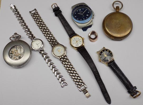 Tin of mixed watches inc pocket watches