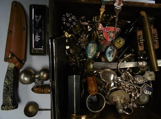 Small old wood box full of mixed collectables, knives, brasses, Blues Buddy harmonica etc...